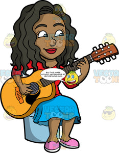 Maggie Playing An Acoustic Guitar. A black woman with long, wavy hair, wearing a blue skirt, a red shirt, and pink shoes, sitting on a stool and playing an acoustic guitar