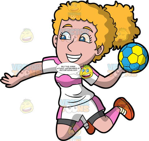 A woman leaping into the air getting ready to throw a handball. A woman with curly blond hair and blue eyes, wearing white and pink shorts, a white and pink shirt, pink socks and red shoes, jumps into the air and prepares to throw the yellow and blue handball in her hand