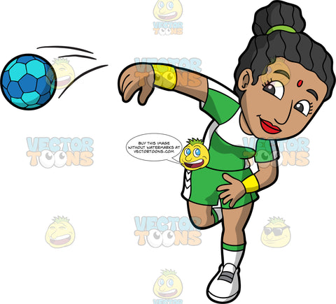 An Indian woman spiking a handball. An Indian woman with her hair tied back, wearing green and white shorts a green and white shirt, and white shoes, spiking a blue handball