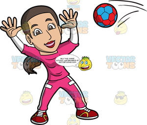 A woman prepares to catch the handball coming towards her. A woman with brown hair and brown eyes wearing a pink tracksuit and red shoes, hold her hands up in the air and prepares to catch the red and blue handball coming towards her