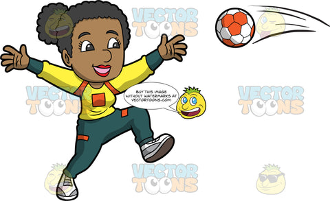 A black woman preparing to catch a handball. A black woman wearing dark green pants and a yellow shirt holds her arms open and prepares to catch the orange and white handball coming towards her