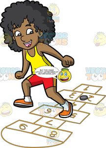 A Joyful Black Woman Playing Hopscotch. A black woman with curly hair, wearing a yellow tank top, red with yellow cycling shorts, white socks, orange shoes, smiles as she jumps on numbered rectangles outlined on the ground to play hopscotch