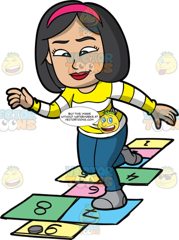 A Happy Woman Playing Hopscotch. A woman with black hair, wearing a pink headband, striped yellow and white sweatshirt, teal pants, gray socks, smiles as she jumps on the colorful numbered rectangles outlined on the ground