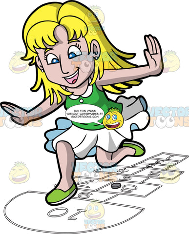 A Joyful Woman Playing Hopscotch. A woman with blonde hair, wearing a green sleeveless blouse with white collar, skirt, green with white shoes, smiles as she jumps on numbered rectangles outlined on the ground to play hopscotch