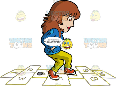 A Woman Playing Hopscotch To Kill Time. A woman with brown hair, wearing a blue jacket, yellow pants, red with white sneakers, smiles as she jumps on numbered rectangles outlined on the ground to play hopscotch