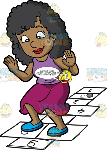 A Black Woman Playing Hopscotch. A black woman with curly hair, wearing a purple tank top, fuchsia skirt, blue shoes, smiles as she jumps on numbered rectangles outlined on the ground to play hopscotch