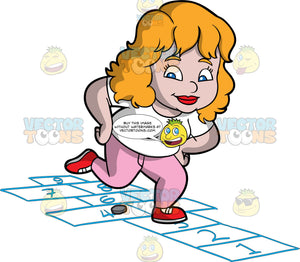 A Chubby Woman Playing Hopscotch. A chubby woman with blonde hair, wearing a white shirt, pink pants, red sneakers, smiles as she jumps on numbered rectangles outlined on the ground to play hopscotch