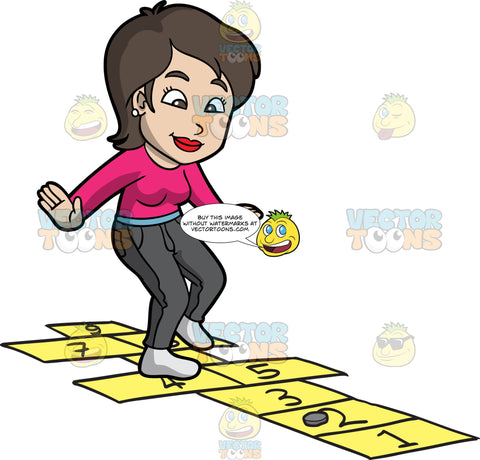 A Chic Woman Playing Hopscotch. A woman with short dark brown hair, wearing a pink sweatshirt, light blue belt, dark gray pants, gray socks, smiles as she jumps on the yellow numbered rectangles outlined on the ground to play hopscotch