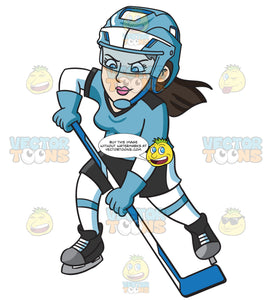 A Female Hockey Player Focused On Winning The Game