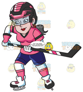 A Female Hockey Player Charges To Defend Their Goal
