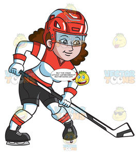 A Female Hockey Player Getting Ready To Pass The Puck