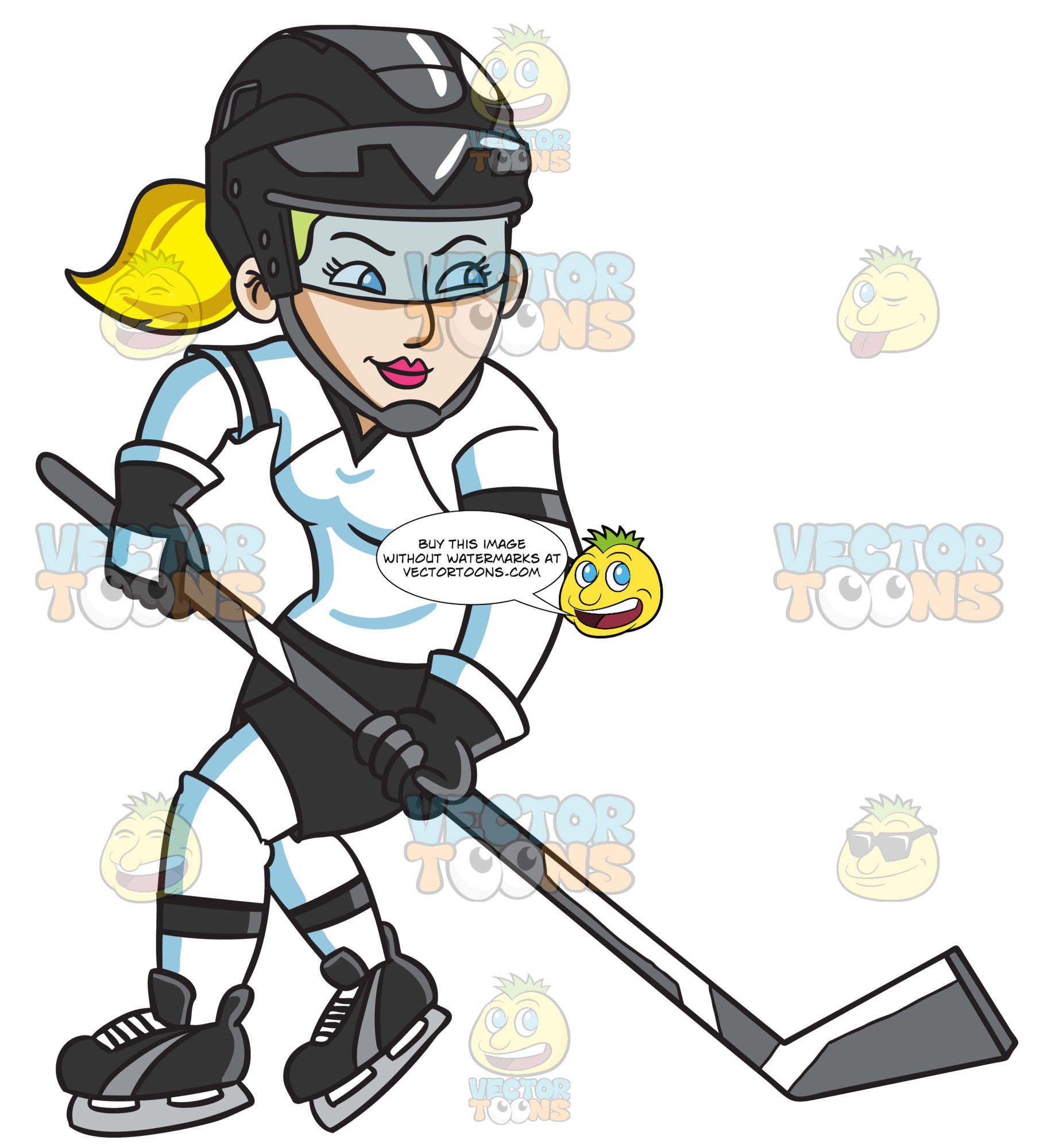 A Female Hockey Player Swirls Into The Ice Rink Clipart Cartoons By Vectortoons