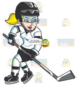 A Female Hockey Player Swirls Into The Ice Rink