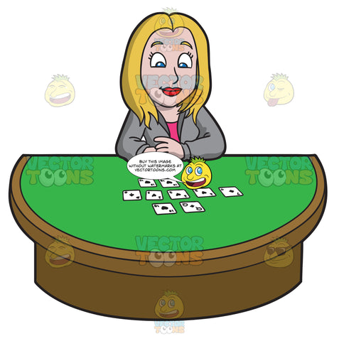 A Businesswoman Playing Poker After Work