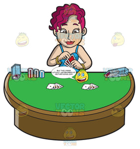 A Pink Woman Playing Poker