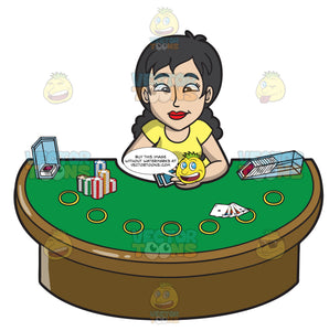 A Happy Woman Playing Poker