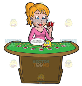 An Optimistic Woman Playing Poker