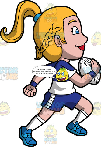 A woman running with a rugby ball in her hand. A woman with dark blond hair tied up in a ponytail, wearing dark blue and white shorts, a white and dark blue shirt, white socks and blue shoes, runs down the field with a white rugby ball in one hand