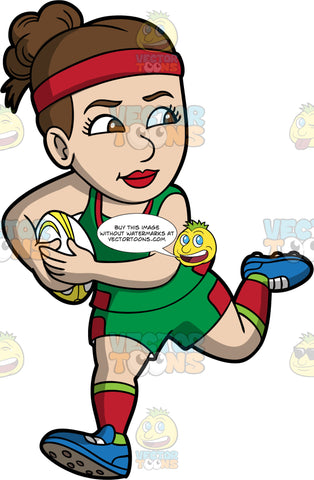 A woman running with a rugby ball in her hands. A woman with brown hair and brown eyes, wearing green and red shorts, a green and red shirt, green and red socks, and blue rugby cleats, looks over her shoulder as she runs away with a yellow and white rugby ball in both hands