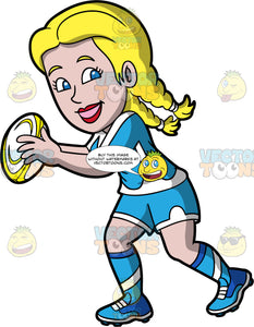 A happy woman playing rugby. A woman with blond hair tied in braids, wearing blue and white shorts, blue and white shirt, blue and white socks, and blue rugby cleats, smiles and holds a yellow and white rugby ball in her hands