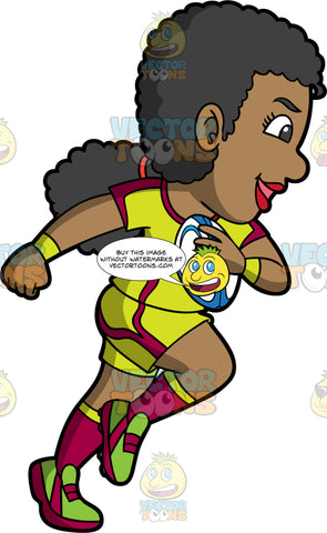 A black woman running with a rugby ball in one hand. A black woman with her hair tied in a low ponytail, wearing yellow and red shorts, a yellow and red shirt, red and yellow socks, and green and red rugby cleats, runs with a blue and white rugby ball tucked under one arm