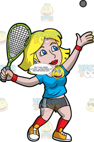 A Female Squash Player Serving The Ball. A woman with blonde hair and blue eyes, wearing dark gray shorts, a blue t-shirt, red socks, and orange shoes, holding a squash racquet in one hand while throwing a squash ball up in the air with the other hand, in order to serve the ball