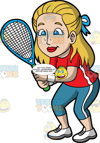 A Woman Holding A Squash Racquet In Her Hands. A woman with dirty blonde hair and blue eyes, wearing blue pants, a red shirt, and white shoes with gray laces, stands with her knees slightly bent, and a squash racquet in her hands and waits for the game to start