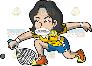 An Asian Woman Playing Squash. An Asian woman with black hair, wearing blue shorts, a yellow shirt, and orange and yellow shoes, lunges forward and hits a squash ball with the racquet in her hand