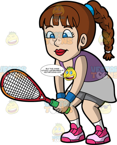 A Woman Getting Ready To Play Squash. A woman with brown hair and blue eyes, wearing a gray skirt with gray shorts underneath, a purple tank top, and pink shoes, stands with a squash racquet in her hands and waits for her opponent to serve the ball