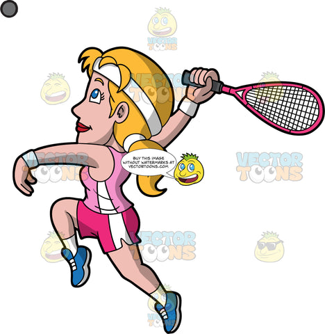 A Woman Leaping Up To Hit A Squash Ball. A woman with blonde hair and blue eyes, wearing pink with white shorts, a light pink tank top, and blue shoes, leaps into the air and reaches her arm behind her in order to hit a squash ball with the racquet in her hand