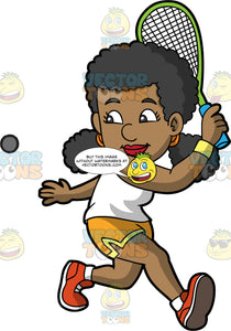 A Black Woman Preparing to Hit A Squash Ball. A black woman, wearing yellow shorts, a white shirt, and orange shoes, turns her body to the side as she prepares to hit a squash ball with the racquet in her hand