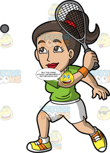A Woman Hitting A Squash Ball. A woman with dark brown hair and eyes, wearing white shorts, a green shirt, and yellow and orange shoes, swinging the squash racquet in her hand and hitting a squash ball