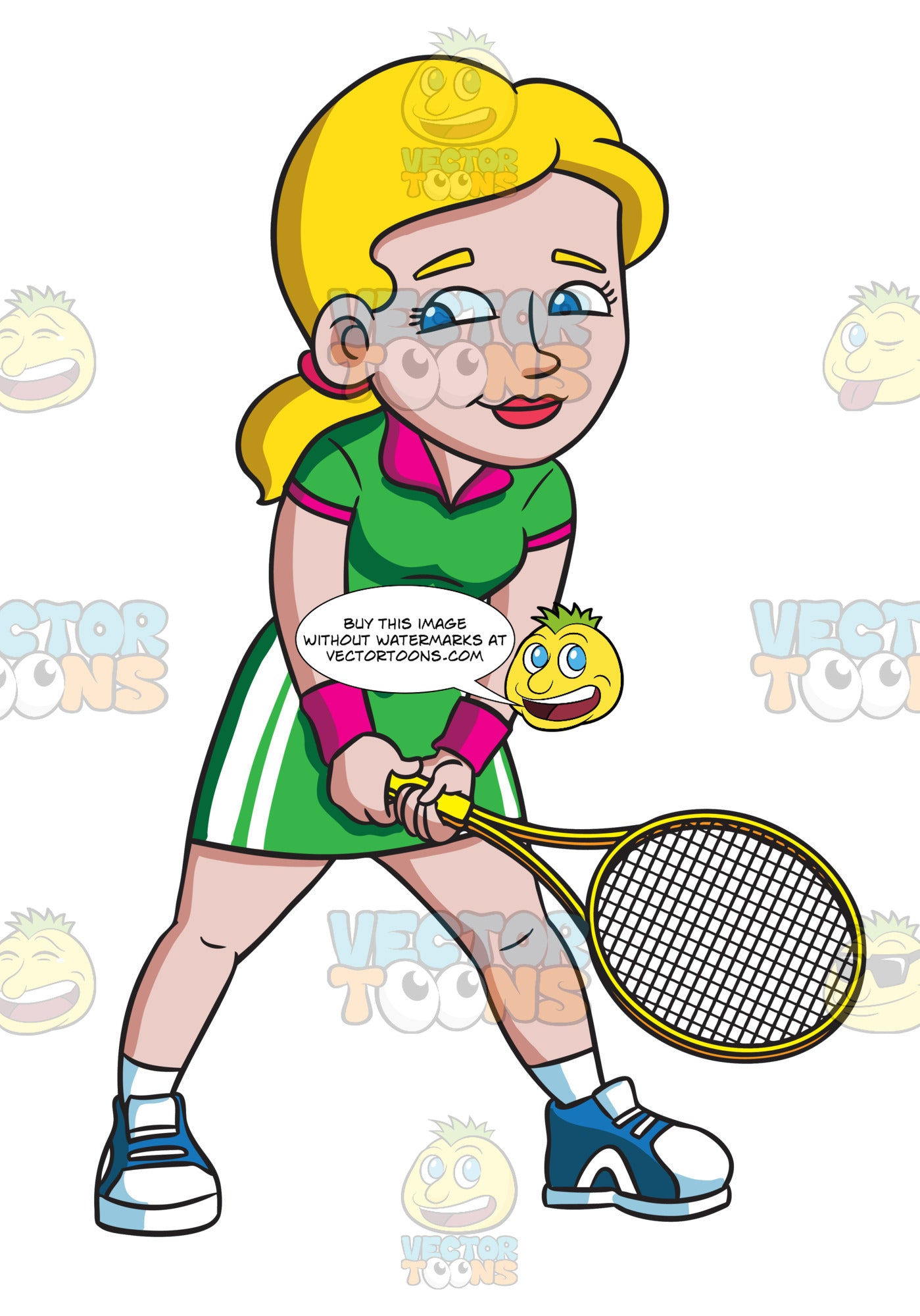 A Female Tennis Player Waiting For Her Opponent To Serve