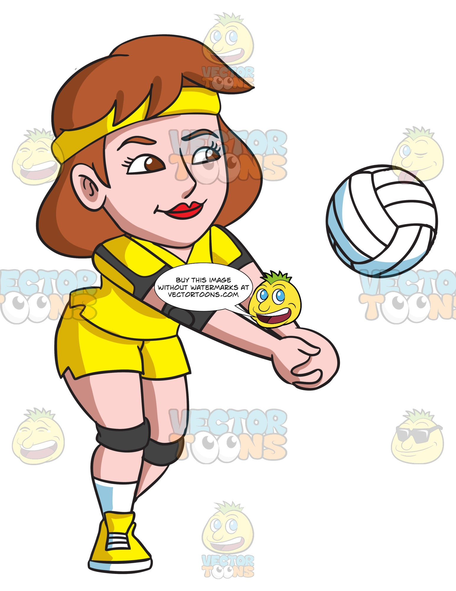 A Female Volleyball Player Enjoying A Game Clipart Cartoons By Vectortoons