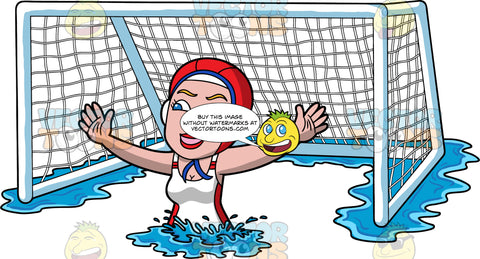 A Woman Defending A Water Polo Goal. A woman wearing a red water polo cap, and white with red bathing suit, treads water in front of the net and spreads her arms out to the sides in order to defend the goal