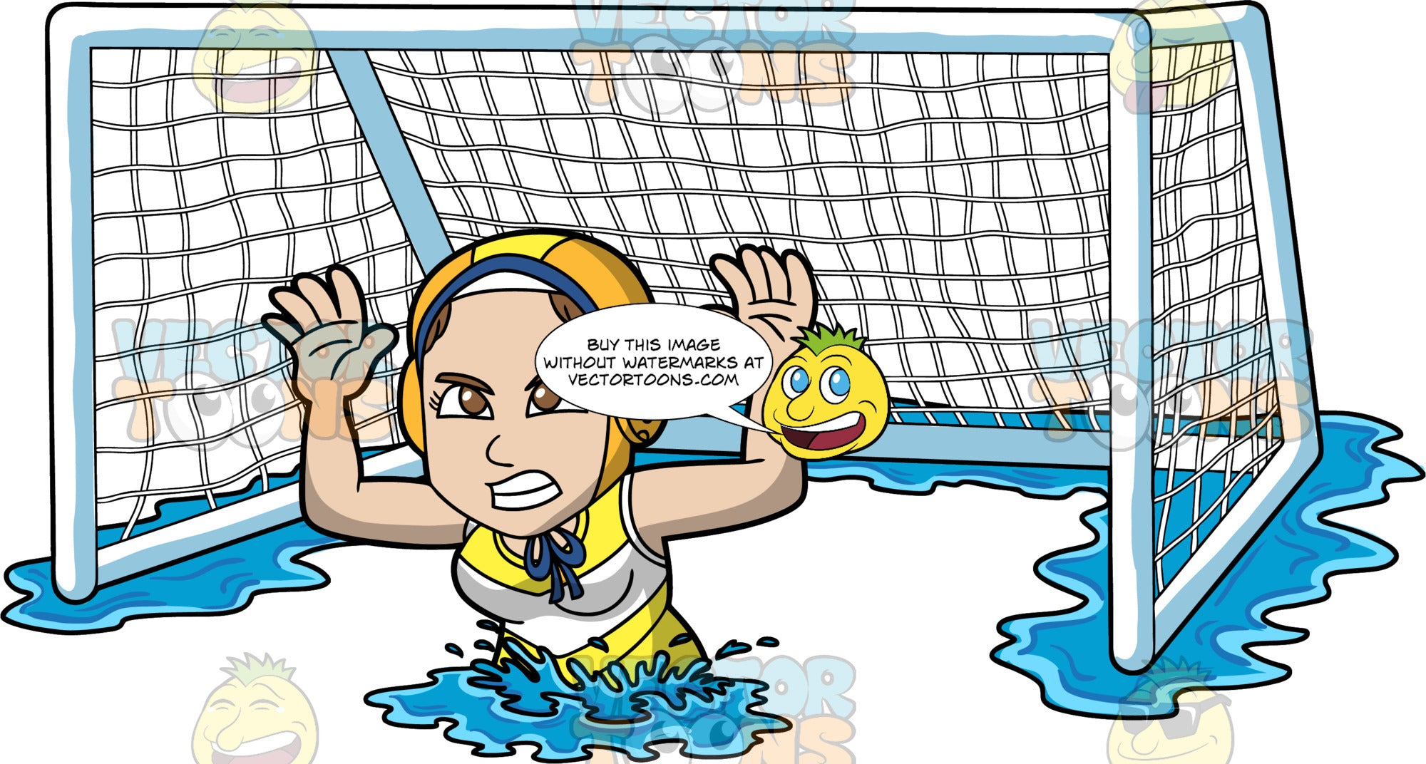 A Woman Aggressively Defending A Water Polo Net. A woman wearing an orange with yellow water polo cap, and a yellow and white bathing suit, grits her teeth and holds her arms up as she tries to defend a water polo gaol