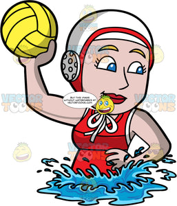 A Woman About To Throw A Water Polo Ball. A woman wearing a white with red water polo cap, and a red bathing suit, lifts her one arm up and prepares to throw the yellow water polo ball in her hand