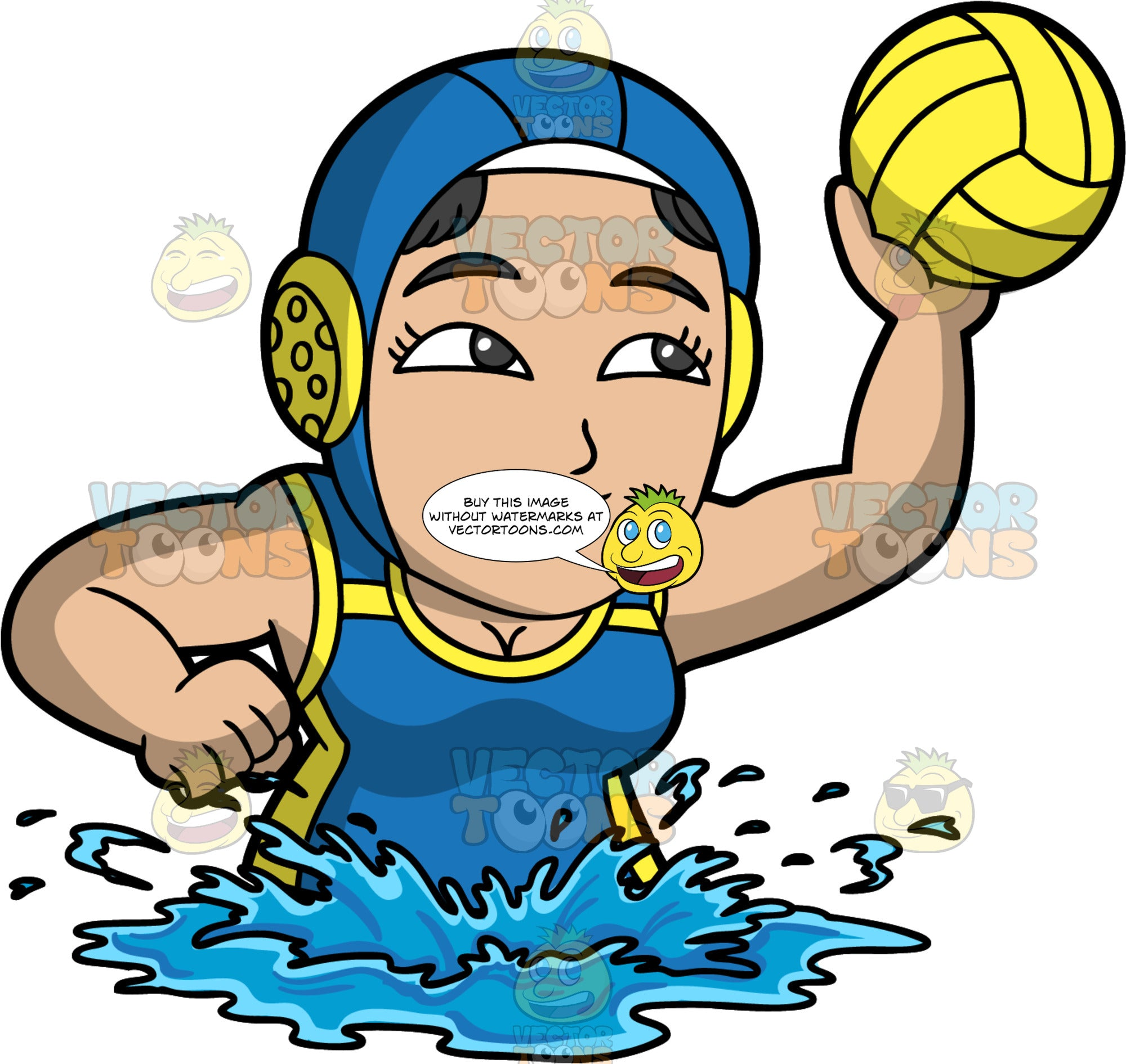 A Woman Getting Ready To Throw A Water Polo Ball. A muscular woman wearing a blue with yellow water polo cap, and a blue with yellow bathing suit, treads water and holds a yellow water polo ball in her hand as she gets ready to throw it