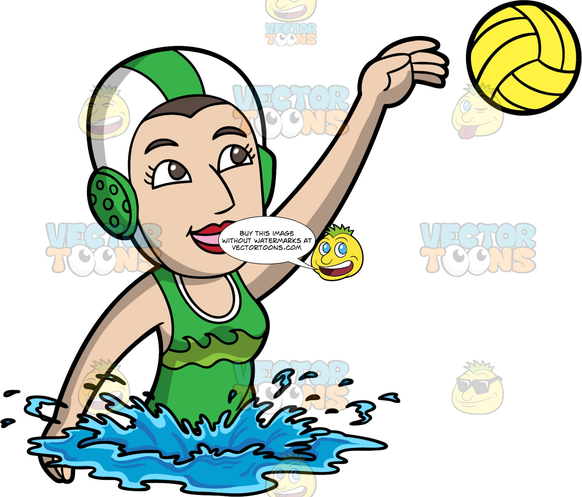 A Woman Throwing a Water Polo Ball. A woman wearing a white and green water polo cap, and a green bathing suit, lifts her one arm up in the air and throws a yellow water polo ball