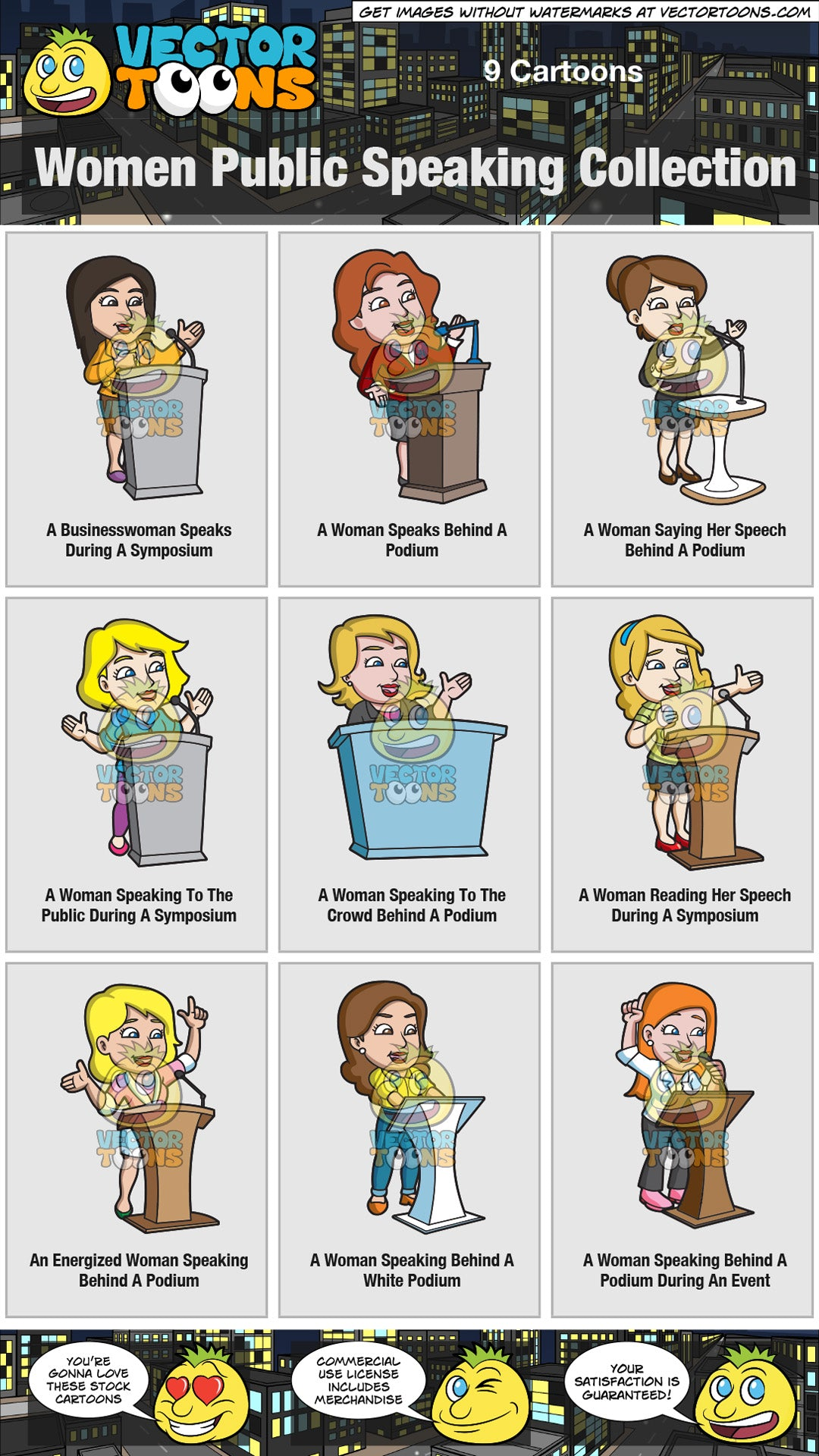 Women Public Speaking Collection Clipart Cartoons By Vectortoons