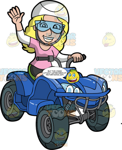 A Blonde Woman Waves As She Rides By On Her ATV. A woman with blonde hair, wearing black shorts with green stripe down the sides, a pink t-shirt over a long sleeve white shirt, white helmet, and clear safety glasses, waves as she drives by on her blue quad bike
