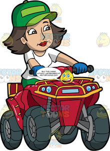 A Woman Enjoying A Day Out On Her Quad Bike. A woman with brown hair and eyes, wearing green pants, a white shirt, blue gloves, and green hat, happily riding around on her red all terrain vehicle