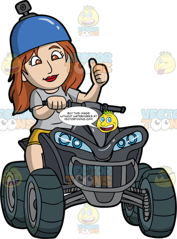 A Woman Gives The Thumbs Up As She Rides Her Quad Bike. A woman with chestnut brown hair and eyes, wearing mustard yellow shorts, a grey t-shirt, sits, and blue helmet with a camera on top, sits on her black ATV and holds the handlebar with one hand while giving the thumbs up with her other hand