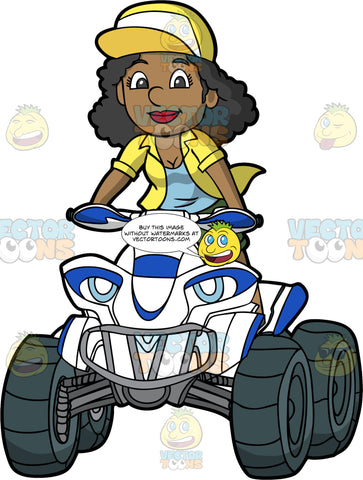A Black Woman Standing Up While Driving A Quad Bike. A black woman wearing green shorts, a yellow shirt over a blue tank top, and yellow and white baseball cap, stands up as she drives her white and blue ATV around