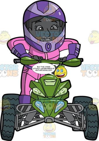 A Female Quad Bike Racer Standing Up On Her ATV. A woman wearing a pink and purple racing suit, purple gloves and boots, and a purple full face helmet, smiles as she stands up to drive around on her green all terrain vehicle