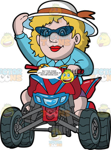 A Chubby Woman Riding A Red And Blue Quad Bike. A chubby woman, wearing purple shorts, a blue blouse, white sun hat with brown ribbon, and safety glasses, holds onto her hat with one hand while her other hand holds the handlebar of the red and blue ATV she is driving