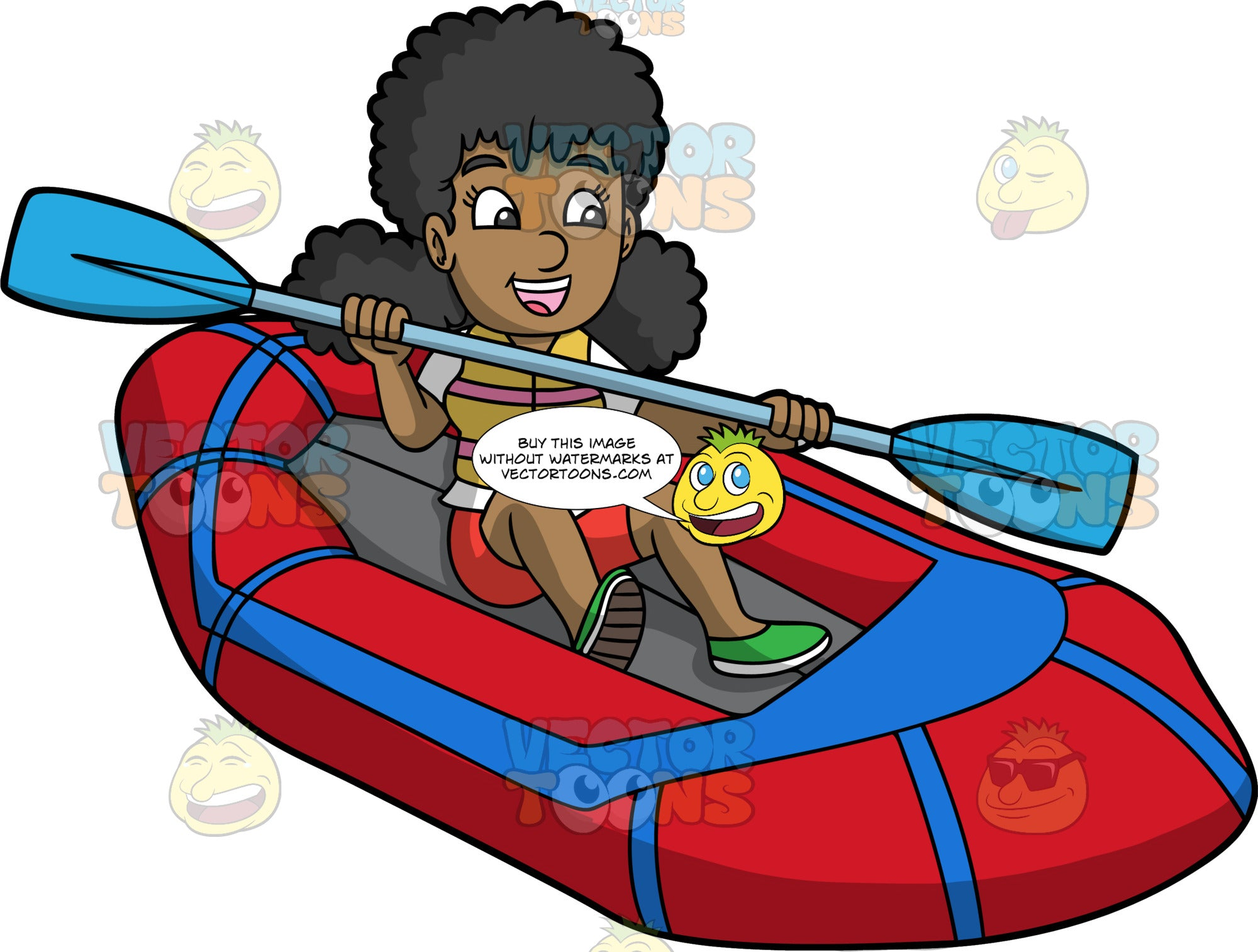 A Happy Black Woman Skillfully Navigating Her Raft Through The Water. A black woman wearing red shorts, a white t-shirt and green shoes, uses a double bladed paddle to steer the red raft she is sitting in