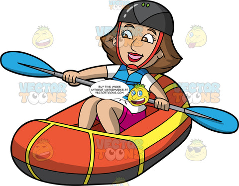 A Happy Woman Having Fun Rafting. A woman with brown hair and eyes, wearing pink shorts, a white t-shirt, blue life jacket, and black helmet, uses a double bladed paddle to steer her orange and yellow raft