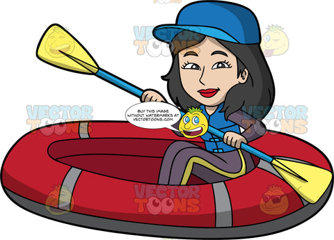 An Asian Woman Sitting In a Red Raft. An Asian woman with black hair, wearing a wet suit, blue life jacket and blue baseball cap, holds a double bladed paddle in both hands as she sits in her red raft