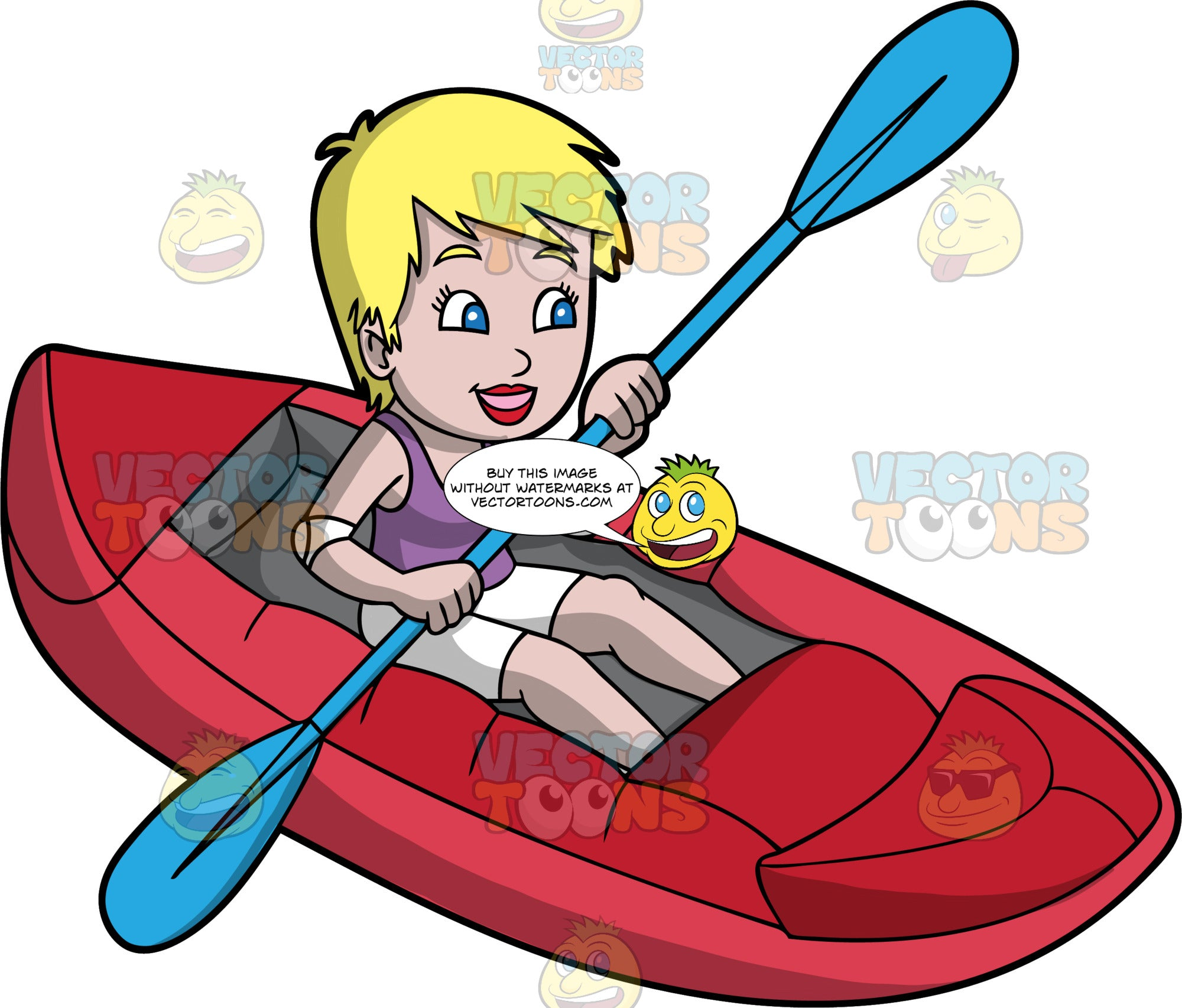 A Blonde Woman Enjoying A Day Out On Her Raft. A woman with short blonde hair and blue eyes, wearing white shorts and a purple tank top, smiles as uses a double bladed paddle to steer her red raft through calm waters